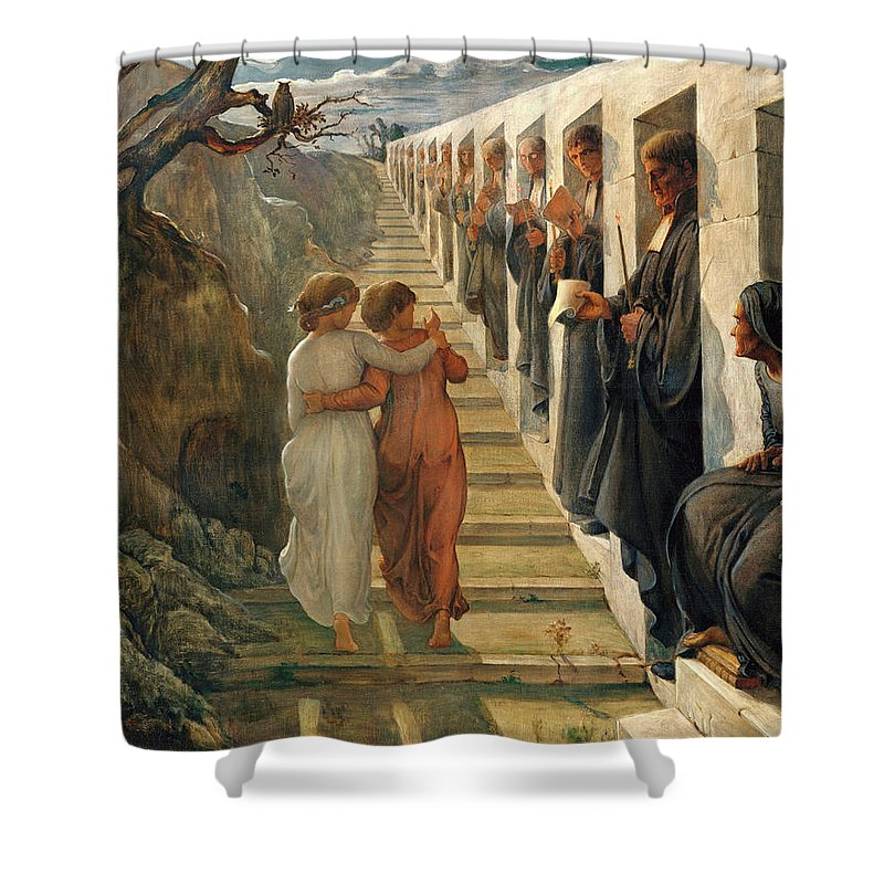 The Poem Of The Soul Shower Curtain featuring the painting The Poem Of The Soul - The Wrong Path by Louis Janmot
