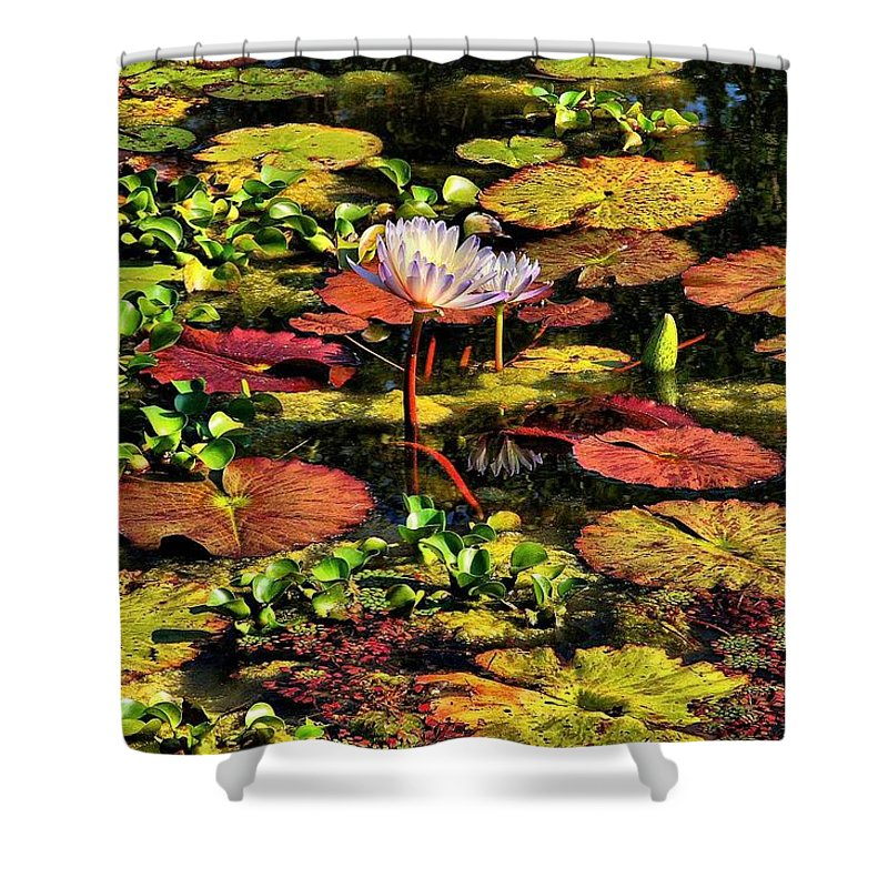 Pseudo-hdr Shower Curtain featuring the photograph The Pond by Lyle Hatch