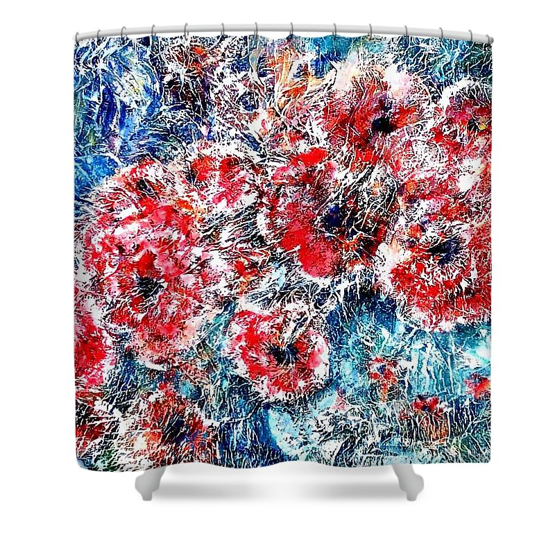 Poppies Shower Curtain featuring the painting The Poppies by Norma Boeckler