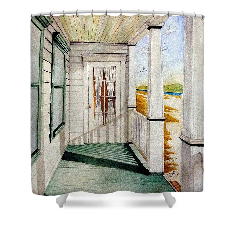 Art Shower Curtain featuring the painting The Porch by Jimmy Smith
