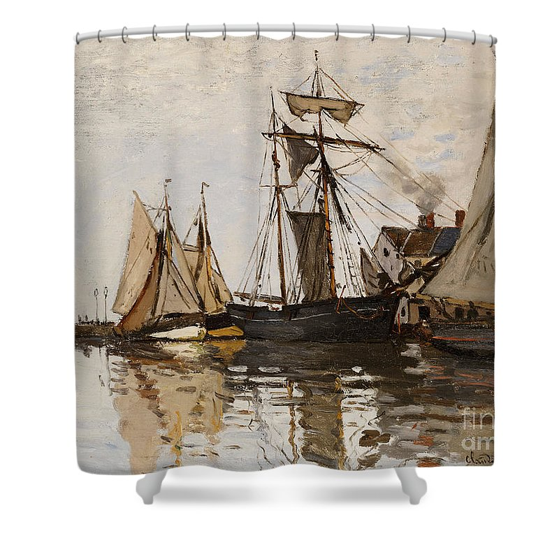 Claude Monet Shower Curtain featuring the painting The Port Of Honfleur by Claude Monet