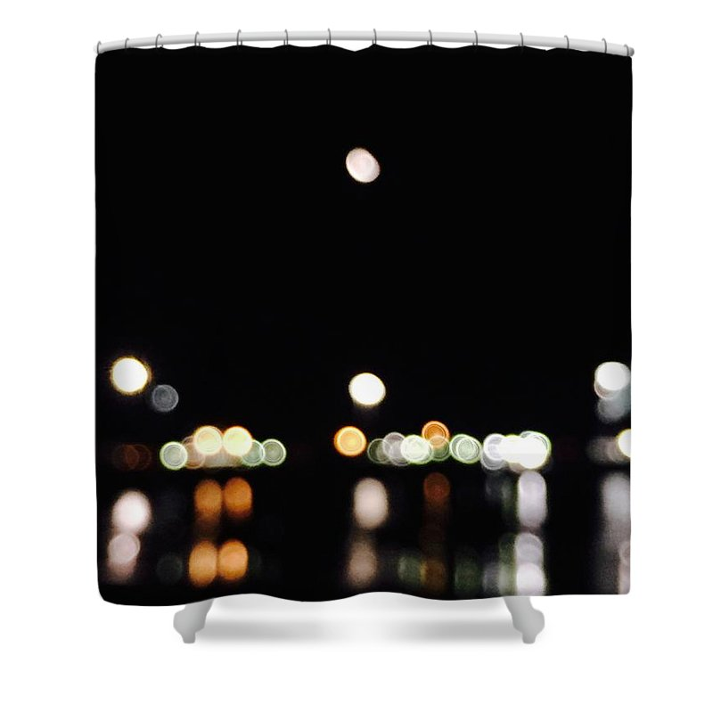 Port Shower Curtain featuring the photograph The Port, The Lights, And The Moon by Ingrid Van Amsterdam