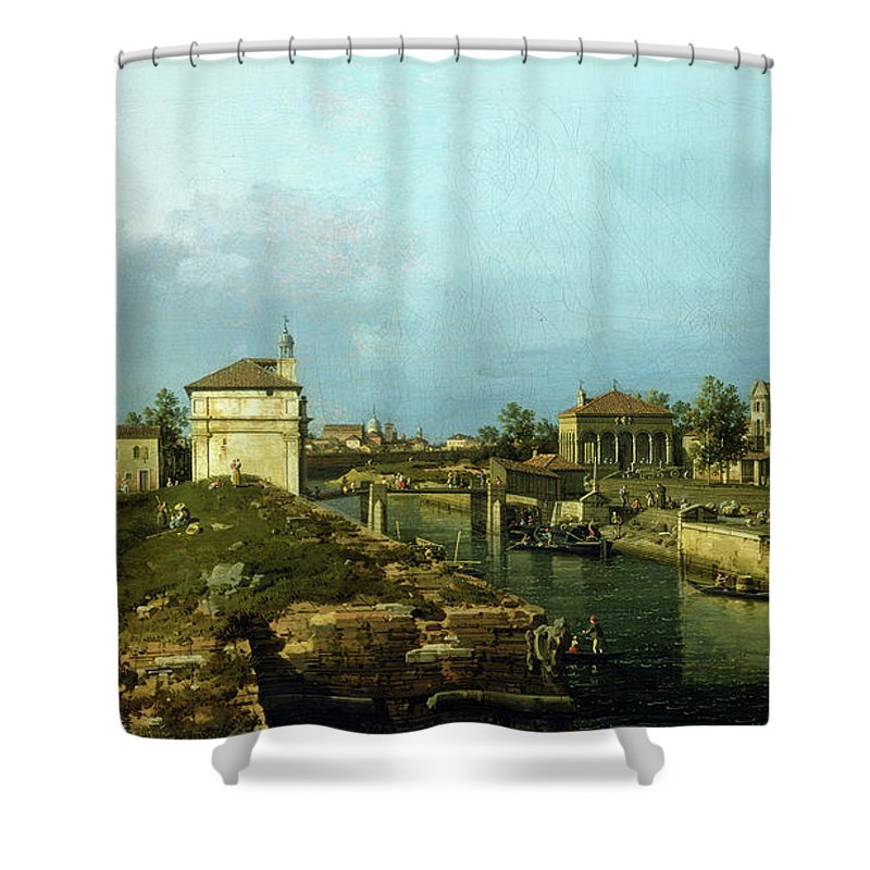 Canaletto Shower Curtain featuring the painting The Porta Portello, Padua by Canaletto
