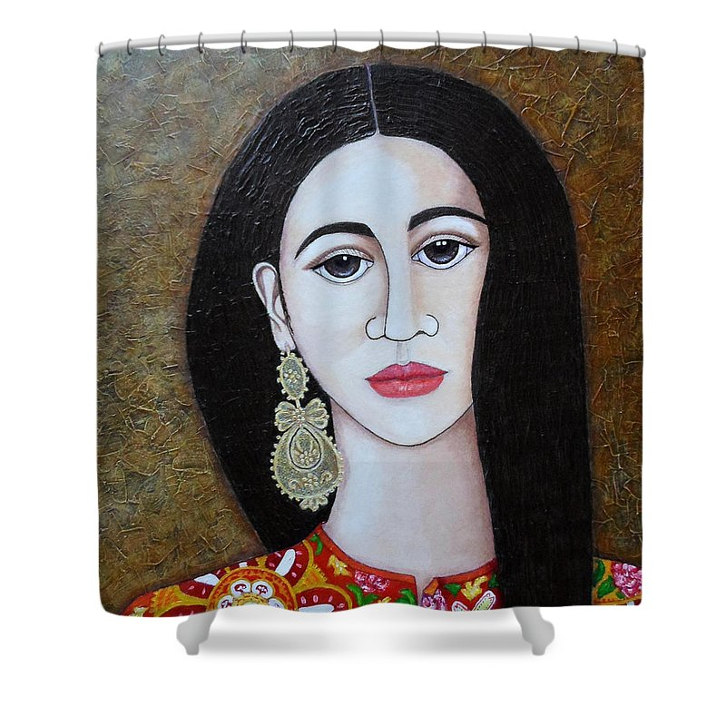 Woman Shower Curtain featuring the painting The Portuguese Earring 2 by Madalena Lobao-Tello