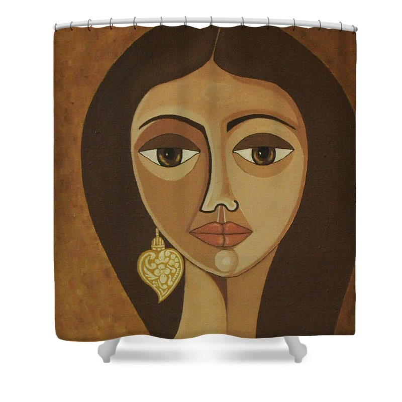 Portuguese Shower Curtain featuring the painting The Portuguese Earring by Madalena Lobao-Tello