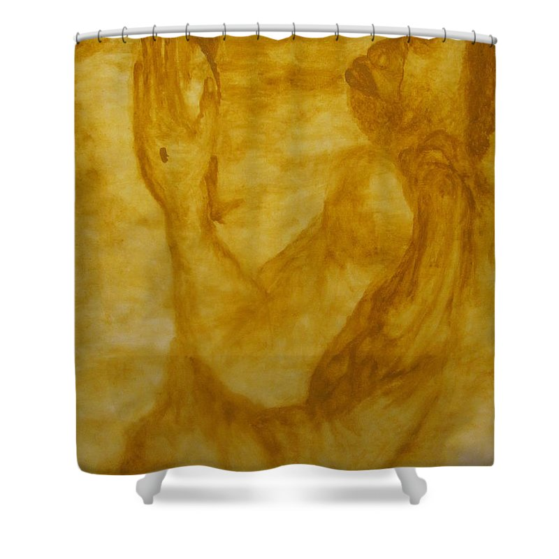 Gloria Ssali Shower Curtain featuring the painting The Potter by Gloria Ssali