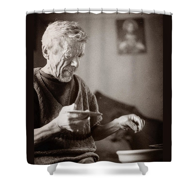 Ukraine Shower Curtain featuring the photograph The Potter Of Haweryvschyna by Yuri Lev