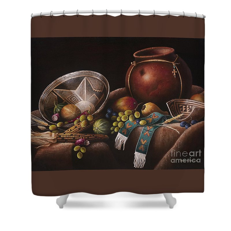 Still Life Southwest Mimbres Pottery Shower Curtain featuring the painting The Potter's Harvest by Kate Robertson
