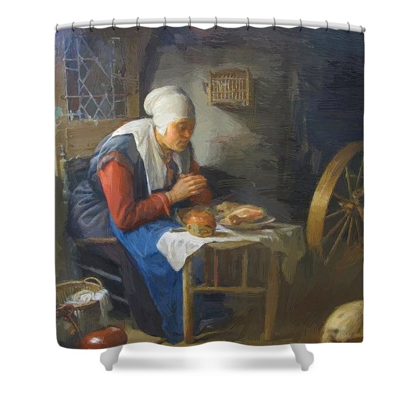 The Shower Curtain featuring the painting The Prayer Of The Spinner by Dou Gerrit
