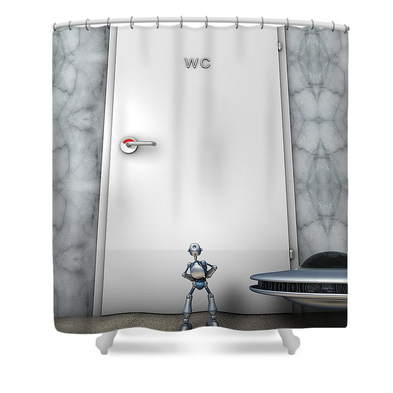 Humor Shower Curtain featuring the digital art The Problem by Nandor Volovo