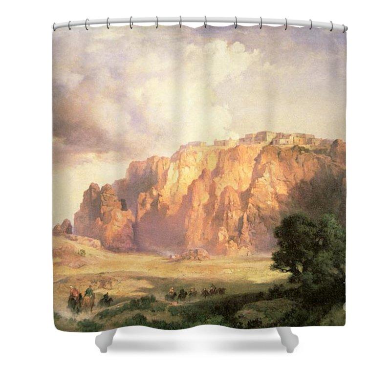 The Pueblo Of Acoma Shower Curtain featuring the painting The Pueblo Of Acoma In New Mexico by Thomas Moran