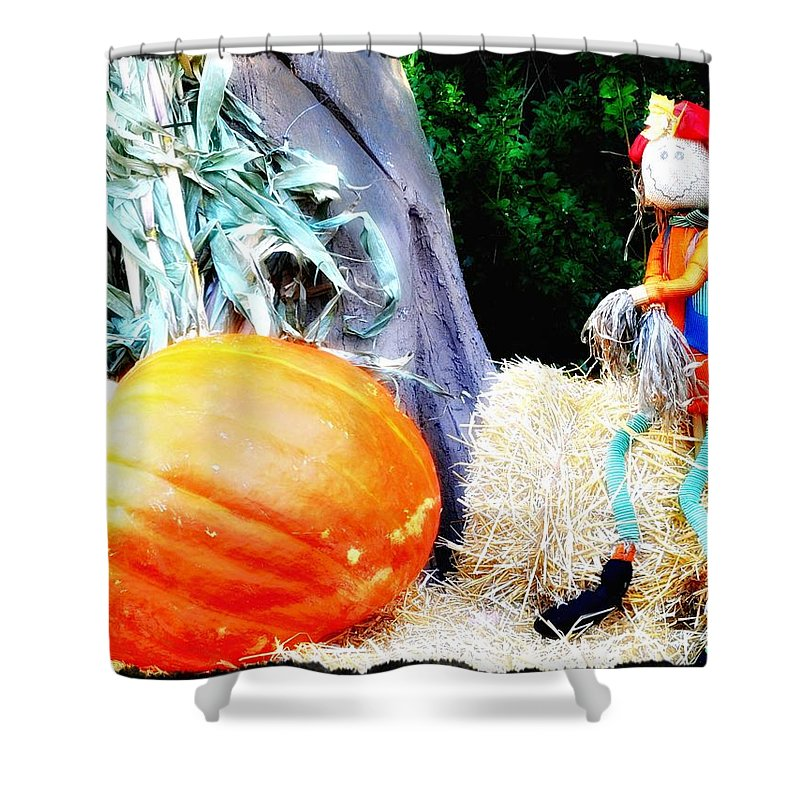 Pumpkin Shower Curtain featuring the photograph the Pumpkin and the Scarecrow by Bill Cannon
