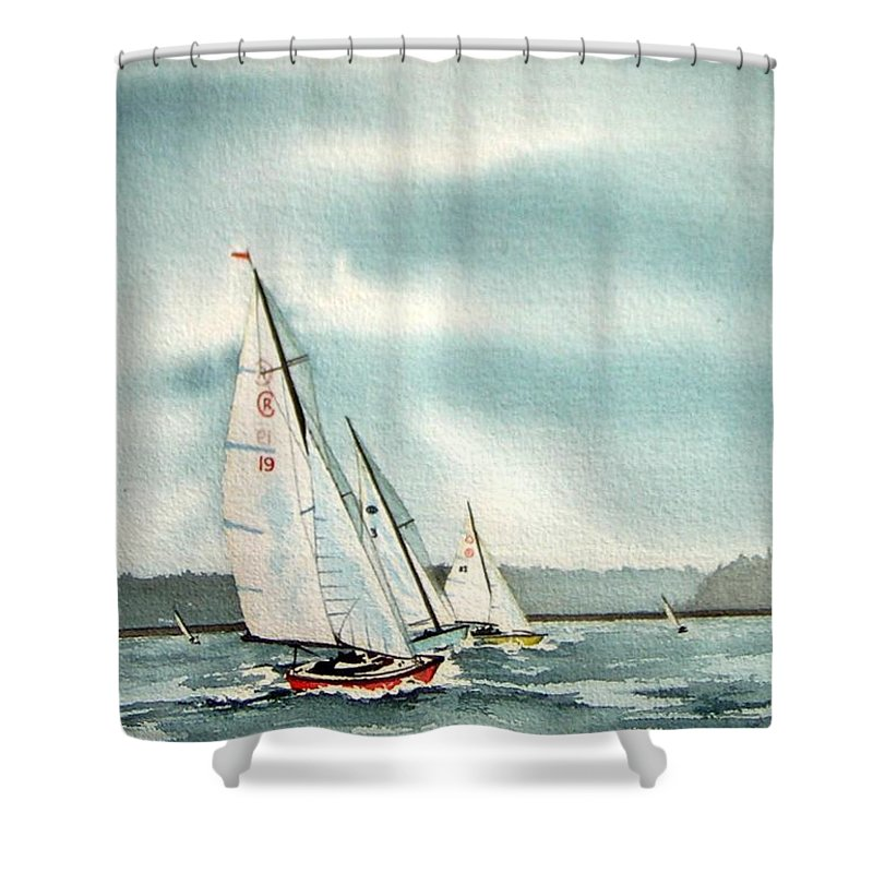Sailing Shower Curtain featuring the painting The Race by Gale Cochran-Smith
