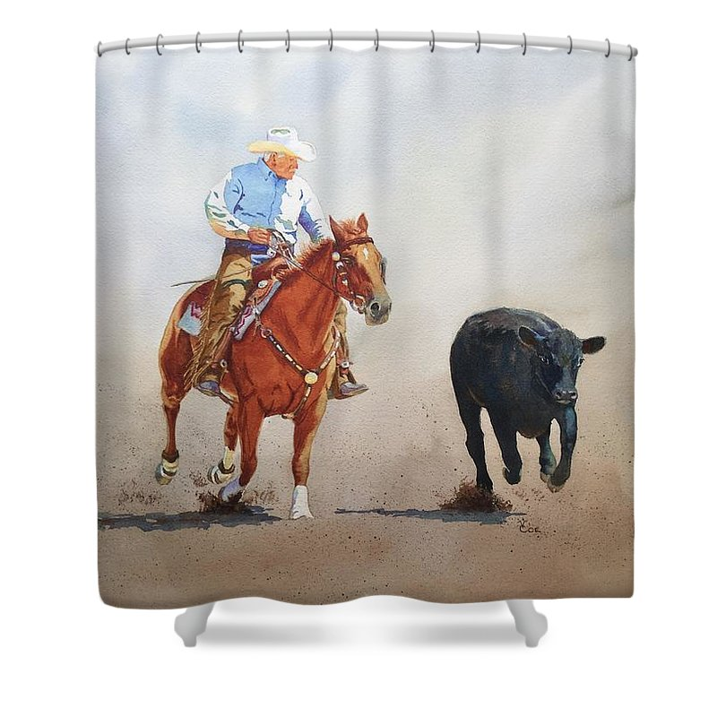 Horse Shower Curtain featuring the painting The Race Is On by Valerie Coe
