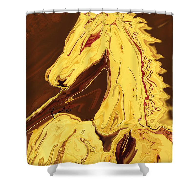 Brown Shower Curtain featuring the digital art The Race by Rabi Khan
