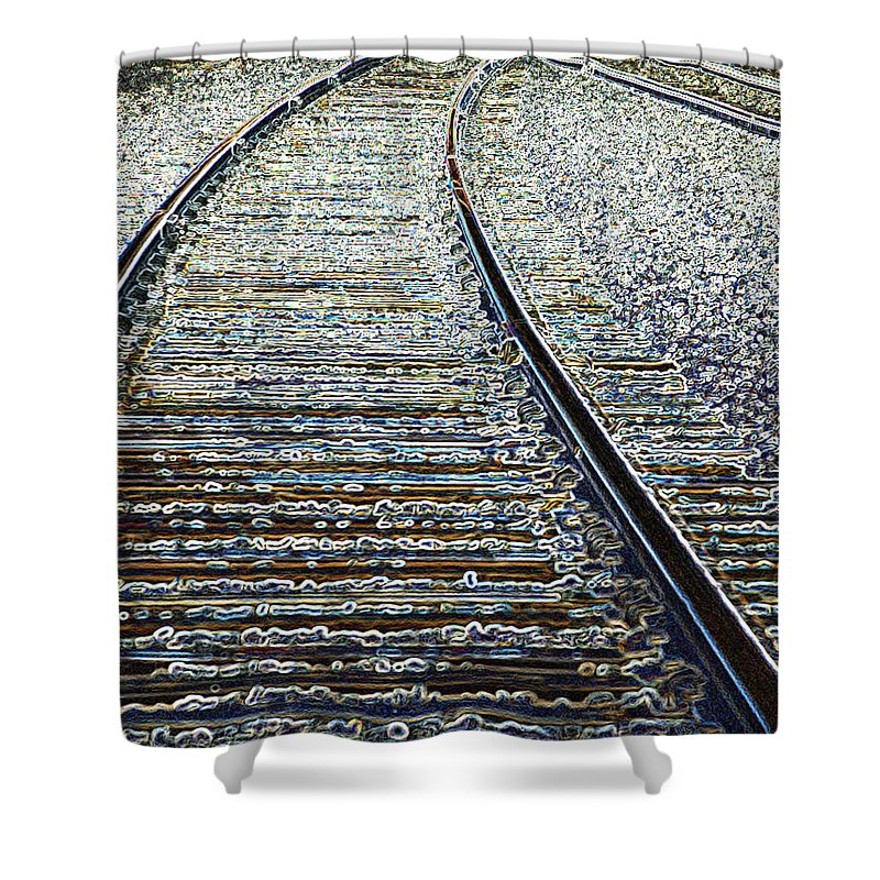 Rail Shower Curtain featuring the photograph The Rails Edge by Tim Allen