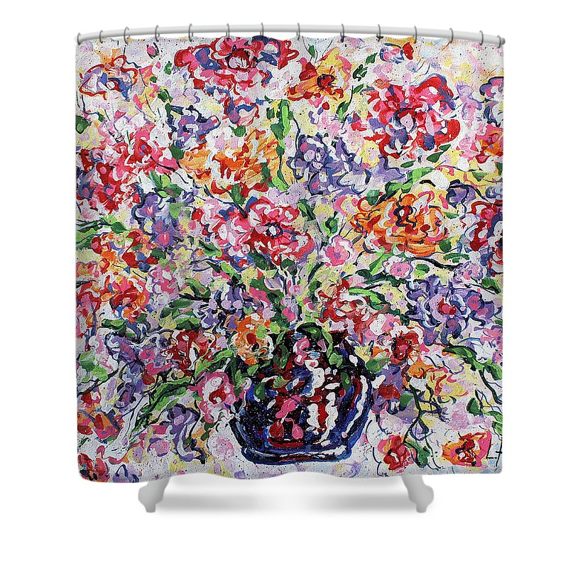 Flowers Shower Curtain featuring the painting The Rainbow Flowers by Leonard Holland