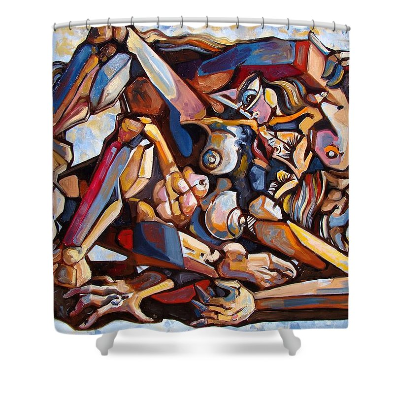 Surrealism Shower Curtain featuring the painting The Rape by Darwin Leon