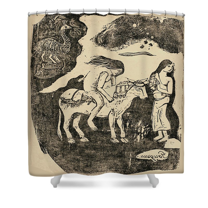 Paul Gauguin Shower Curtain featuring the drawing The Rape Of Europa by Paul Gauguin