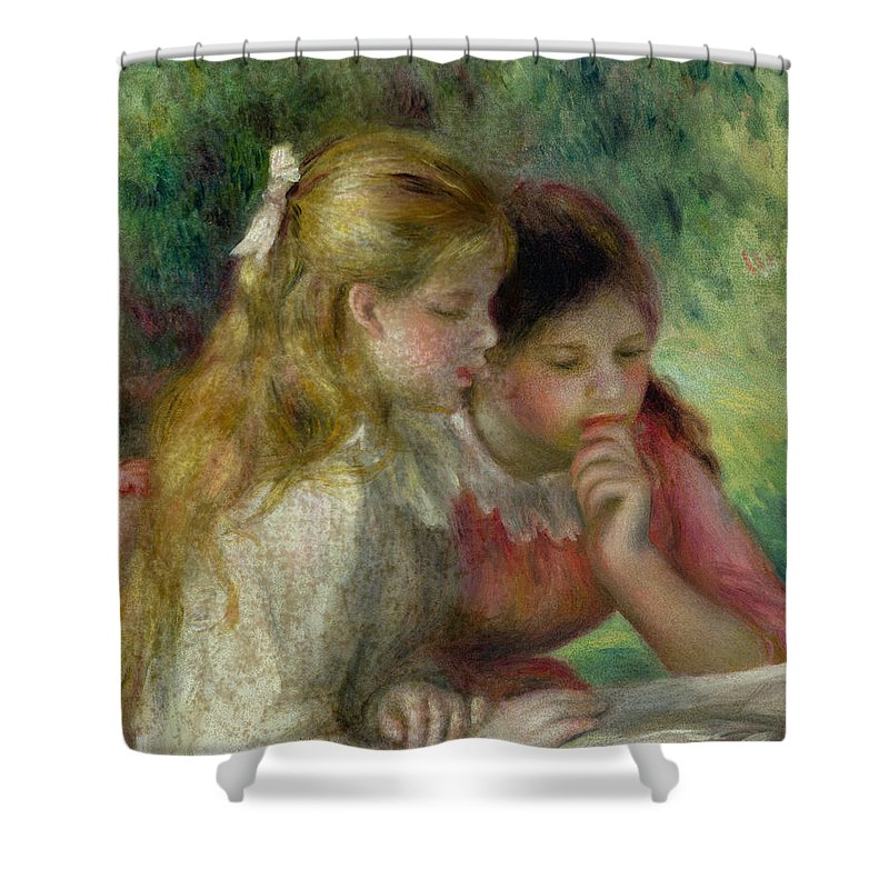 Renoir Shower Curtain featuring the painting The Reading by Pierre Auguste Renoir