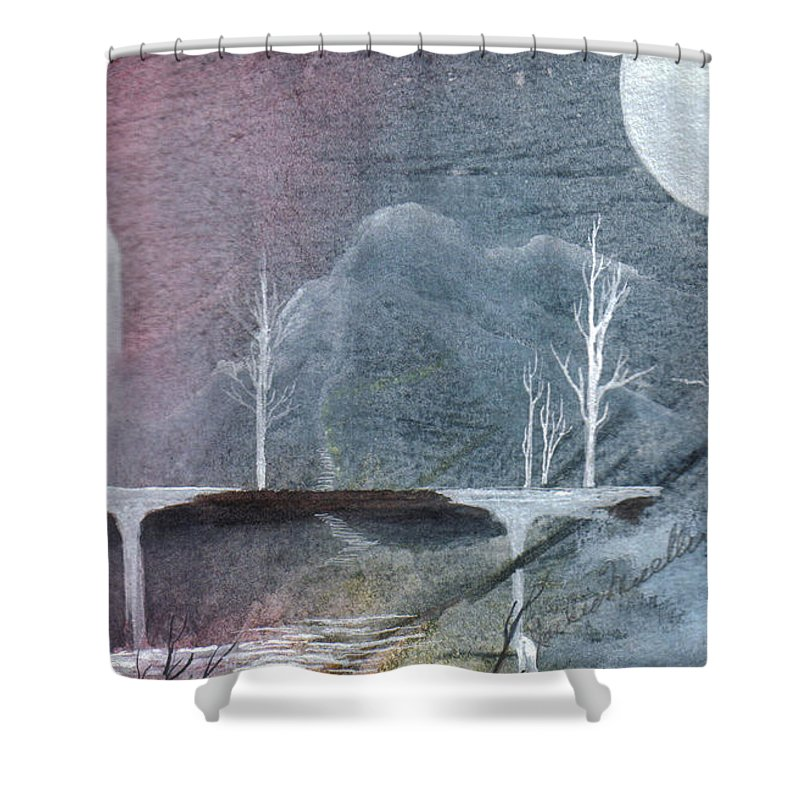 Castle Shower Curtain featuring the painting The Realm Of Queen Astrid by Jackie Mueller-Jones