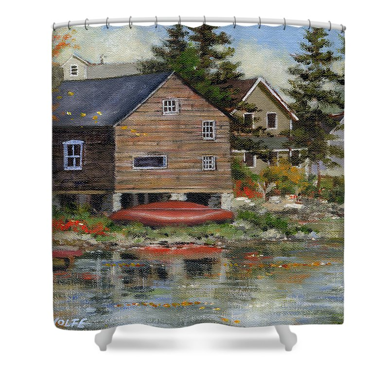 Autumn Shower Curtain featuring the painting The Red Canoe by Richard De Wolfe