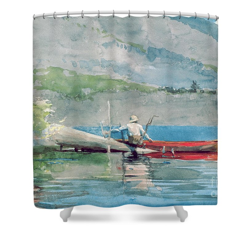 The Red Canoe Shower Curtain featuring the painting The Red Canoe by Winslow Homer