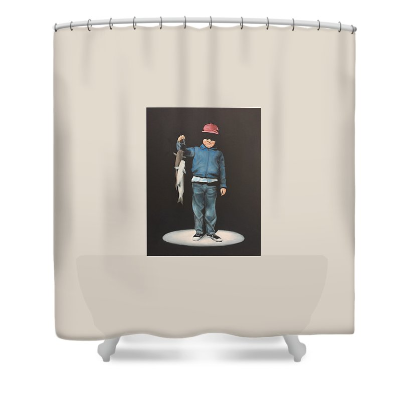 Boy Shower Curtain featuring the painting The Red Cap by Jeffrey Bess