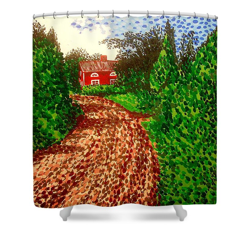 Acrylic Shower Curtain featuring the painting The Red House In Finland by Alan Hogan