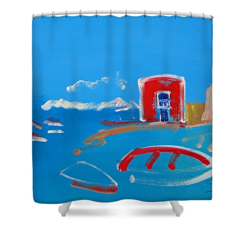 Puerto Shower Curtain featuring the painting The Red House La Casa Roja by Charles Stuart