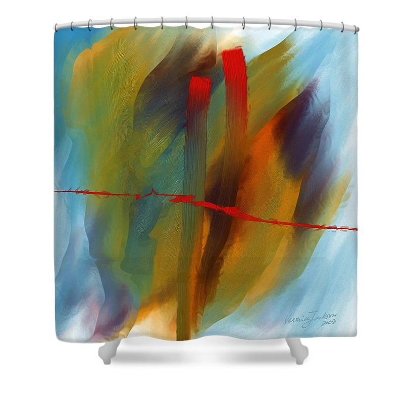 Red Abstract Lines Soft Moves Air Water Shower Curtain featuring the digital art The Red Line by Veronica Jackson
