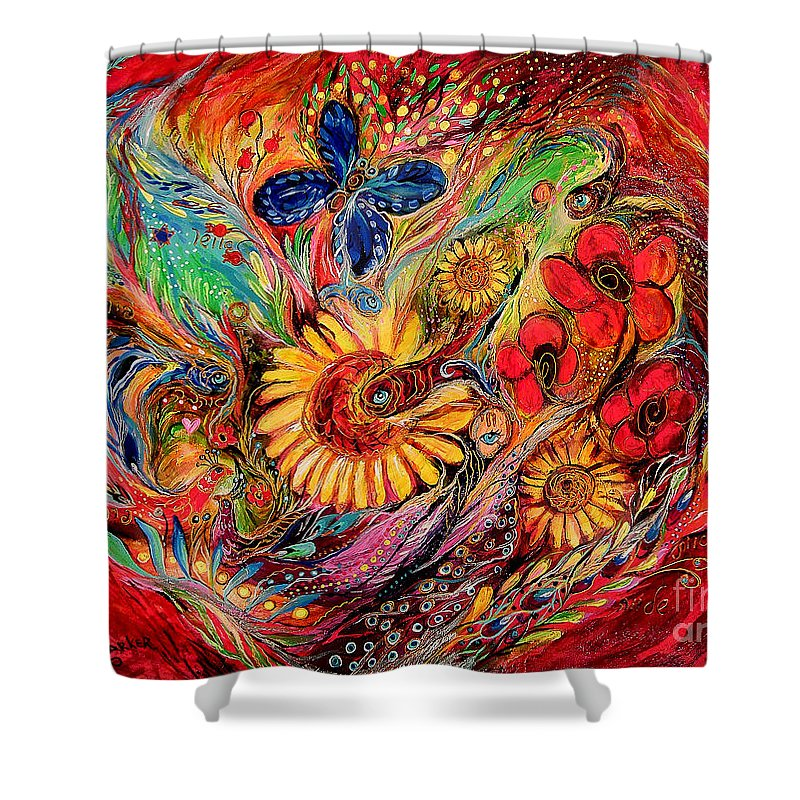 Original Shower Curtain featuring the painting The Red On Red by Elena Kotliarker