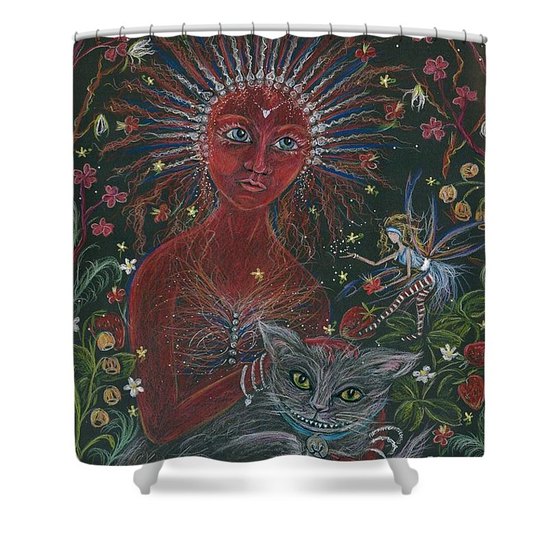 Cheshire Cat Shower Curtain featuring the drawing The Red Queen by Dawn Fairies