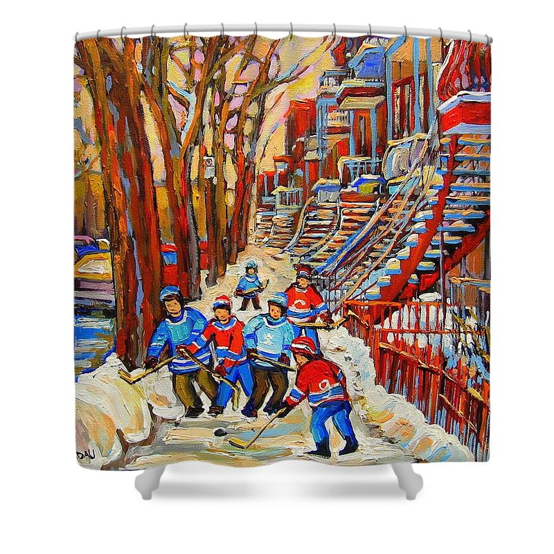 Shower Curtain featuring the painting The Red Staircase Painting By Montreal Streetscene Artist Carole Spandau by Carole Spandau