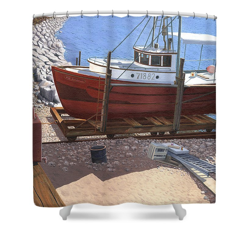 Fishing Boat Shower Curtain featuring the painting The Red Troller by Gary Giacomelli