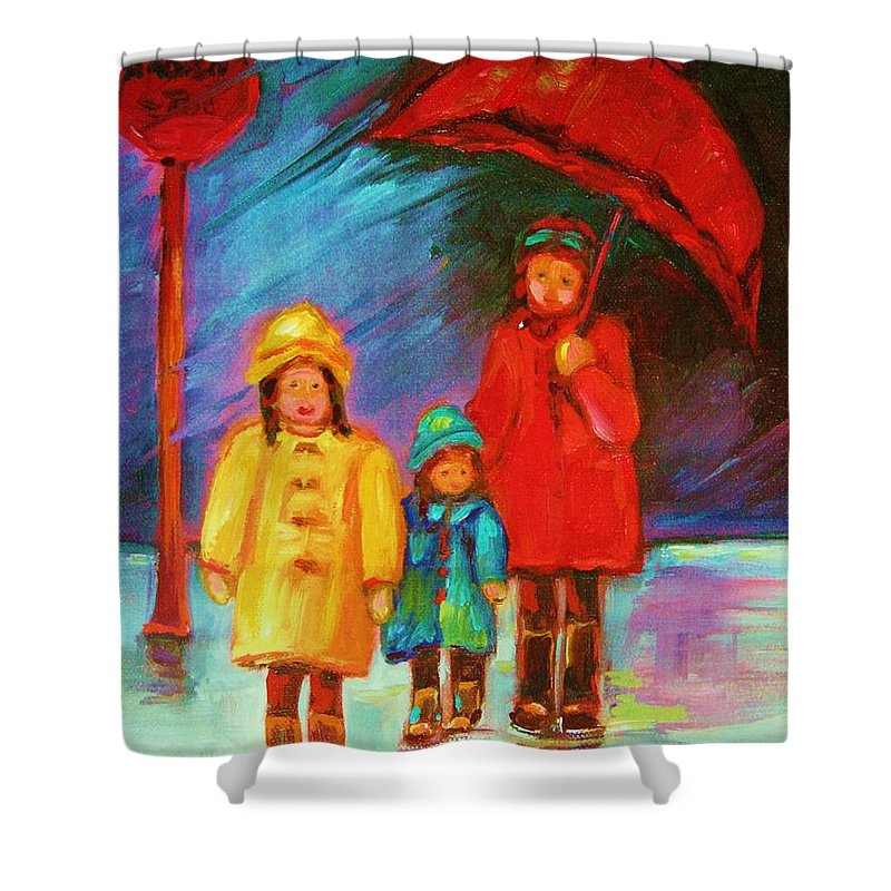 Rainy Day Shower Curtain featuring the painting The Red Umbrella by Carole Spandau