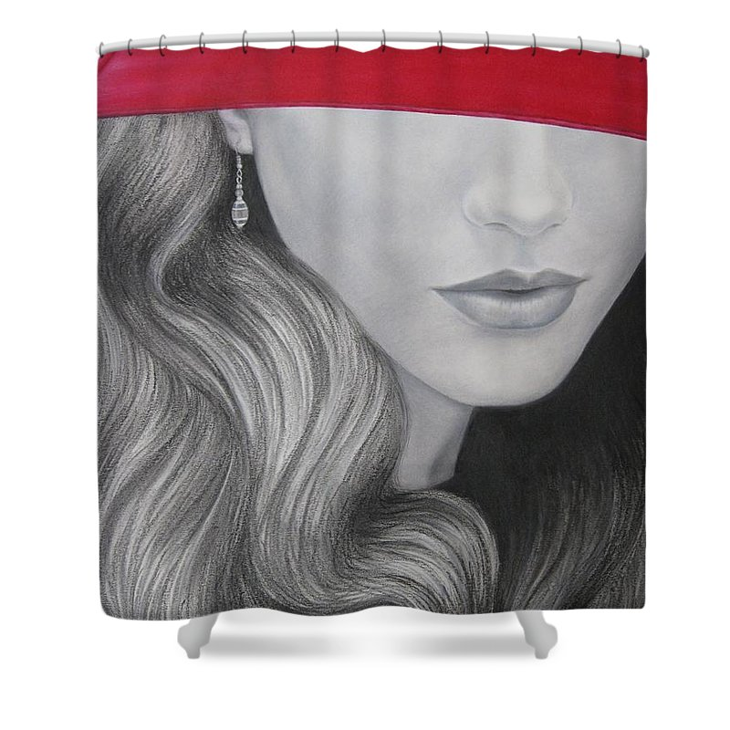 Woman Shower Curtain featuring the painting The Red Umbrella by Lynet McDonald