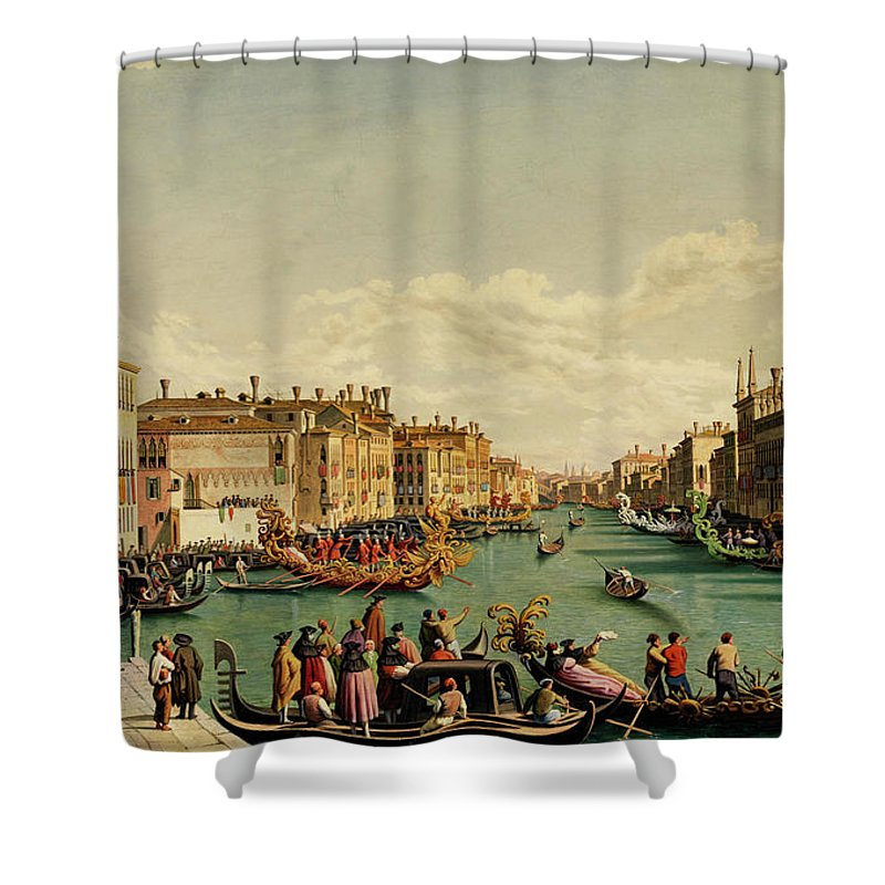 Canal Shower Curtain Featuring The Painting Redentore Feast In Venice By Hubert Sattler