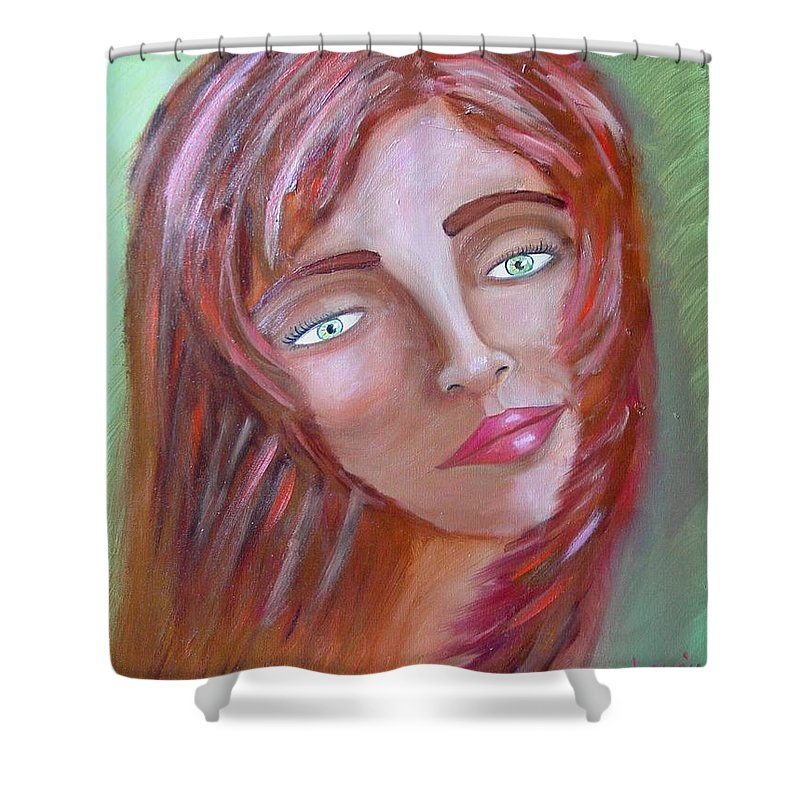 Redheads Shower Curtain featuring the painting The Redhead by Laurie Morgan