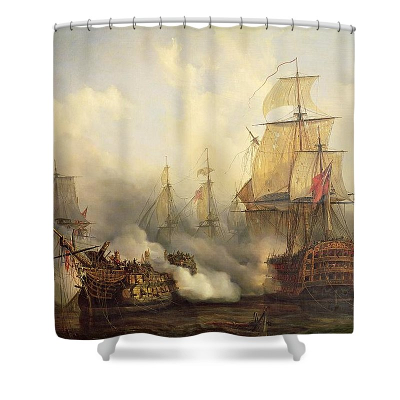 The Shower Curtain featuring the painting Unknown Title Sea Battle by Auguste Etienne Francois Mayer
