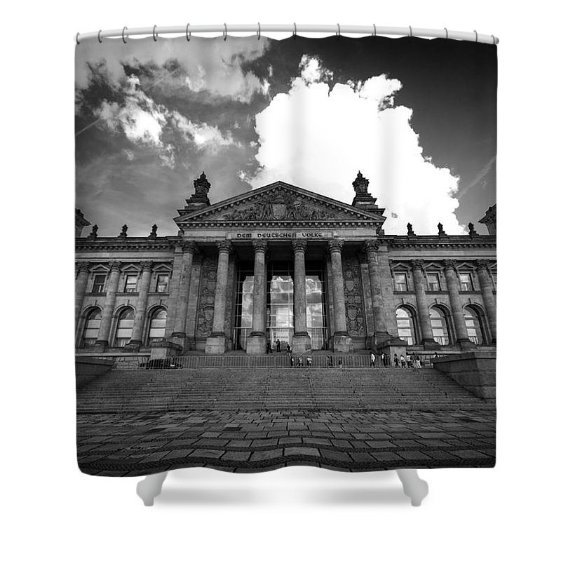 Berlin Shower Curtain featuring the digital art The Reichstag  by Nathan Wright