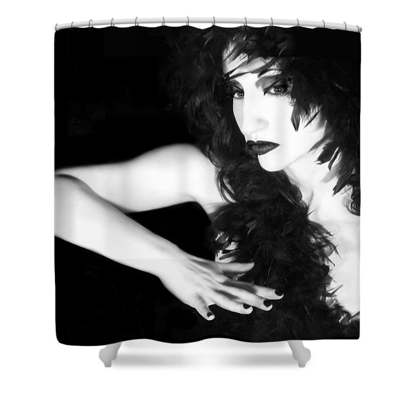 Woman Shower Curtain featuring the photograph The Reluctant Reveal - Self Portrait by Jaeda DeWalt