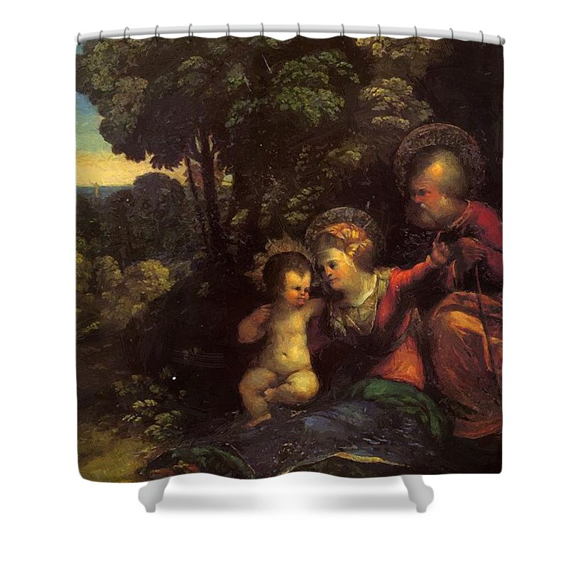 The Shower Curtain featuring the painting The Rest On The Flight Into Egypt by Dossi Dosso