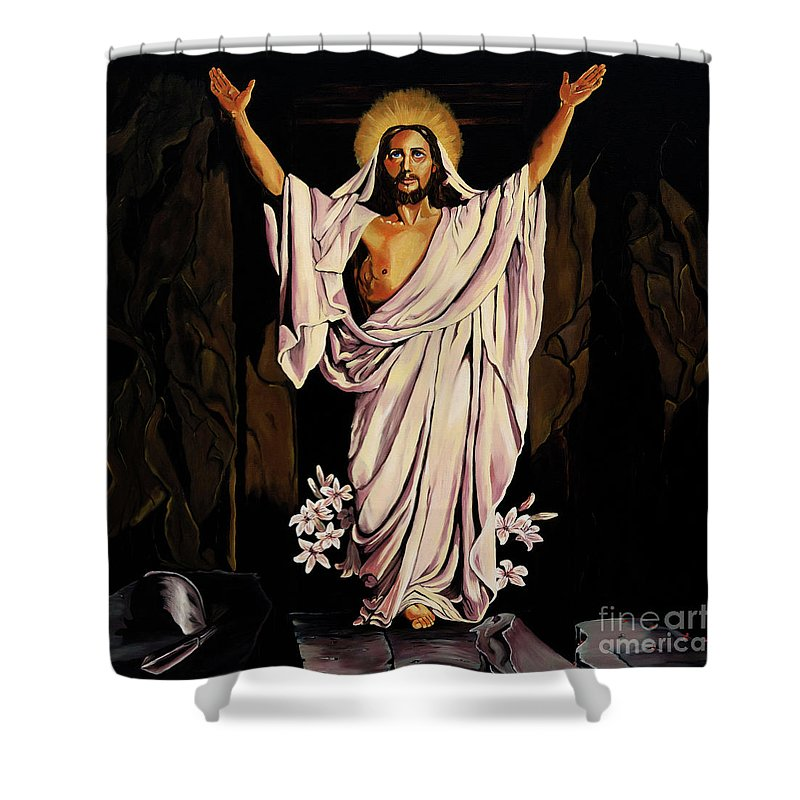 Religious Shower Curtain featuring the painting The Resurrection by Milagros Palmieri