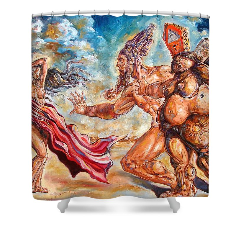 Surrealism Shower Curtain featuring the painting The Return Of The Original Consciousness And The Temptation Of The Fallen by Darwin Leon