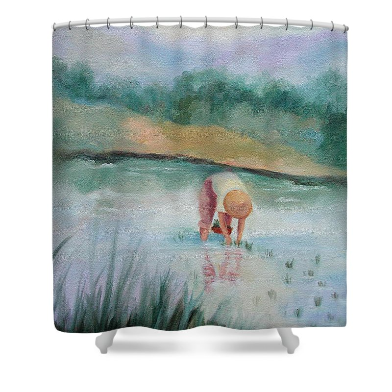 Figurative Shower Curtain featuring the painting The Rice Planter by Ginger Concepcion