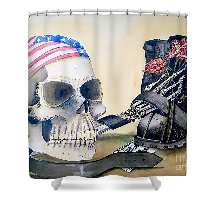Skull Shower Curtain featuring the painting The Rider by Mastiff Studios