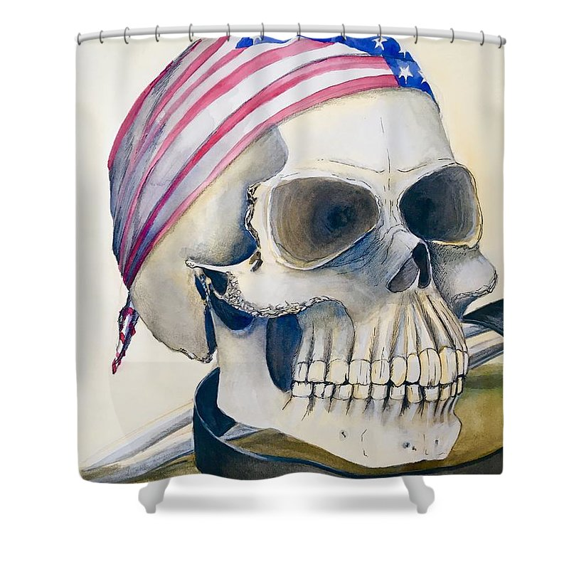Watercolor Shower Curtain featuring the painting The Rider's Skull by Mastiff Studios
