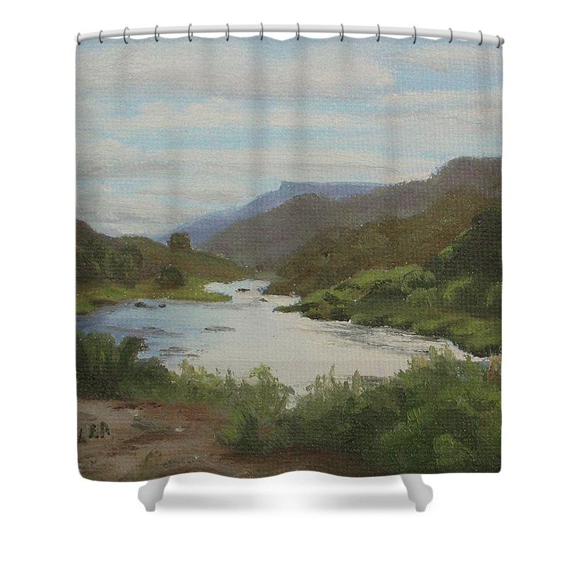 Landscape Shower Curtain featuring the painting The Rio Grande Between Taos And Santa Fe by Lea Novak