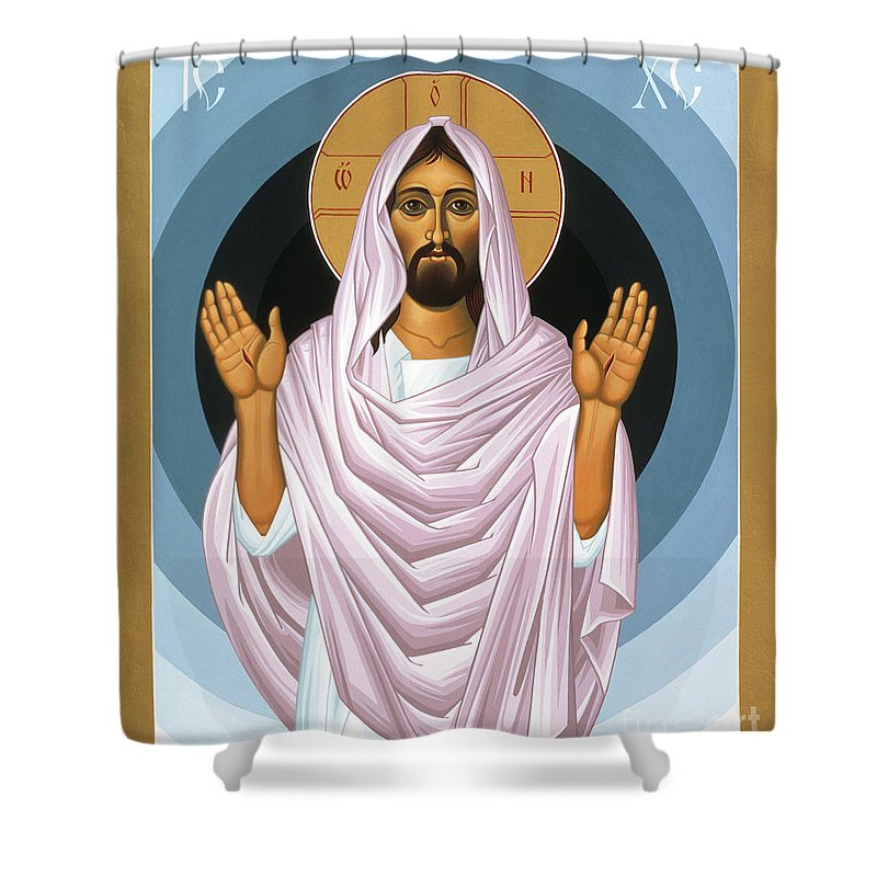 The Risen Christ Shower Curtain featuring the painting The Risen Christ 014 by William Hart McNichols